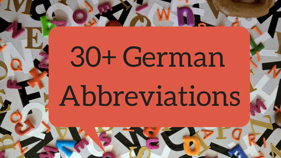 30+ German Abbreviations