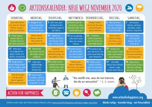 Action for happiness calendar for November in German